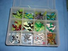 130 Pcs Rubber Soft Worm  Lures Fishing Baits And Case