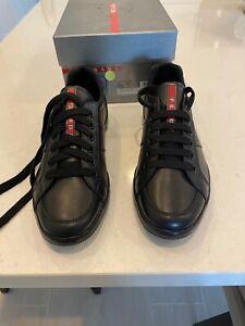 PRADA Black Leather Sneakers Shoes Size 9 US  SIZE 8 EU