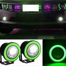 2 Pcs Green LED COB Angel Eye Halo Super Bright Vehicle Fog Lights Working Lamps