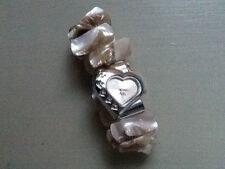Valentines Heart Shaped Watch With Love Logo Elasticated Onyx Effect Bracelet