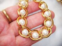 VINTAGE JEWELLERY FABULOUS CHUNKY GOLD TONE CHAIN FAUX PEARL  NECKLACE