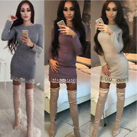 Fashion Women Long Sleeve Party Cocktail Evening Bodycon Autumn Mini Lace Dress