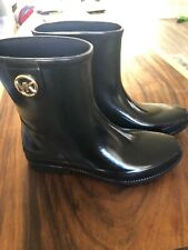 Michael Kors Rubber Boots Size 10 Black Benji