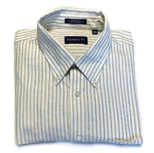 GANT Wrinkle-less Cream and Blue Striped Button Down Shirt 17.5 34/35