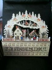 """Deluxe Large 18""""x17"""" Wood Lights Up Christmas Advent Calendar Unique Count Down"""