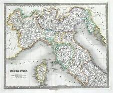 Nord de l'Italie, Corse, douaire, Teesdale original antique map 1841
