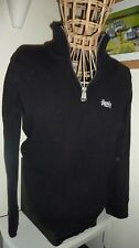Mens SUPERDRY Size M Chest Black 100% Cotton Heavy Weight  Jumper Sweater