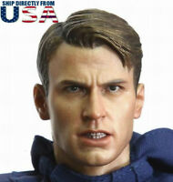 1/6 Chris Evan Captain America Head Sculpt 6.0 Angry Version For Male Figure USA