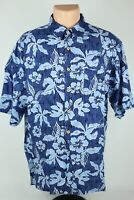 Vintage Hana Bay Island Tropics Mens L Blue Floral Print Rayon Hawaiian Shirt