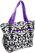 SILVERHOOKS NEW Womens Black/White Damask Beach Tote Shoulder Bag w/ Purple Trim