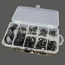 5sets 40Pcs Repair Kit Fishing Rod Guides Stainless Repair Tip Tops Line Rings
