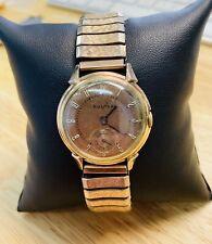 Vintage 1943 Bulova Men's Watch 14K Rose Gold Filled 17J, Cal.10AK, Runs Well