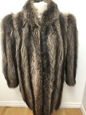 Natural RACCOON FUR COAT Jacket Sz.L