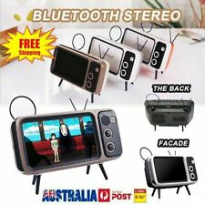 Portable Retro TV Wireless Bluetooth Stereo BT Speaker Handsfree Phone Holder #T