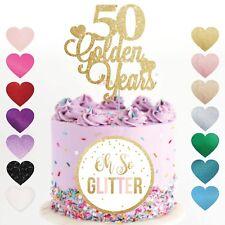 50th aniversario de bodas Cake Topper Años Dorados Brillo Dorado Aniversario