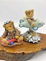 Set of 2 Cherished Teddies ~ 1997 Lance ~ 1999 Milton ~ Pilot Airplane Stars