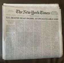 COLLECTIBLE - New York Times May 24 2020 - US Deaths Near 100,000