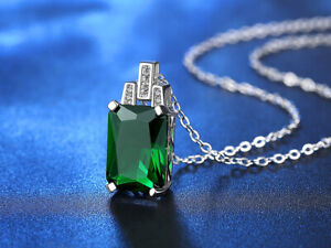 Emerald Pendant Necklace for Women Silver 925 Jewelry Green