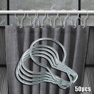 50pcsRustproof Curtain Hooks Stainless Steel Bathroom Shower Curtain Hook Rings-