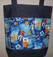 NEW Large Denim Tote Bag Handmade/w Elvis Presley Blue Hawaii Surf Fabric