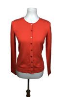 August Silk Women's Size S Orange Silk Blend Cardigan Sweater Stretch