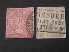 *GERMANY, NORTHERN CONFEDERATON, SCOTT # 1+6(2),1/4gr+5gr VALUE 1868 ROULET USED