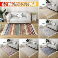 Bohemian Hand Woven Carpet Rugs Floor Mat Geometric Tassel Bedside Home Deco
