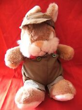 """Vintage Castile  Bunny, Rabbit, Brown soft toy in dungarees 14"""""""