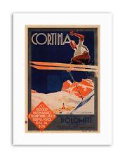 WINTER SKIING CORTINA ITALY ALPINE Poster Vintage Travel Sport Canvas art Prints
