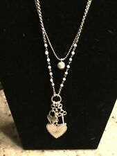Lucky Brand Silver & Imitation Pearl Double String Heart Charm Necklace, NWT