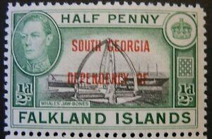 FALKLAND ISLANDS/SOUTH GEORGIA 1944-45 KGVI SG B1 ½d. BLACK AND GREEN  -  MNH