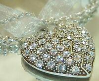 Beautiful Vintage 80's Rhinestine Silver Tone Heart Necklace 259JL6