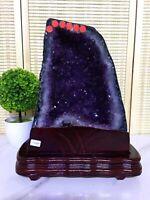 TOP 33.44LB Natural Amethyst geode quartz cluster crystal specimen healing+stand