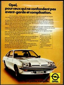 1976 Opel Manta coupe car photo French vintage print ad