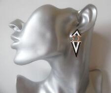Cute small black & white enamel triangle shape drop - dangly earrings *NEW*