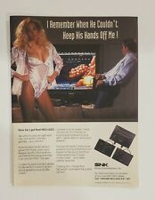 Vintage Retro 1991 Neo Geo SNK sexy woman video game system ad promo