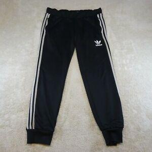 Adidas Pants Women Medium UK 14 Black White Spell Out Logo Athletic Gym Ladies *
