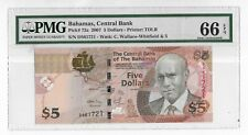 66EPQ PMG 5$ Dollars The Bahamas 2007 Banknote SN:D561718 # 72a Auction From 1$