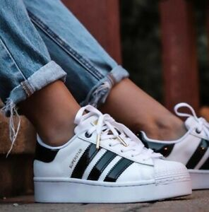 💕 Adidas Original Superstar Bold Women's Athletic Sneaker White Shoes Trainers