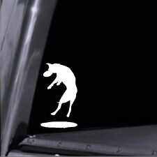 Dog Stickers - Dog Jumping Catching Frisbee Vinyl Decal Stickers #4 Disc Golf