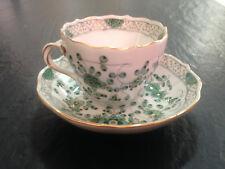 Meissen Mokka / Espresso Tasse/ Untertasse indisch grün Blumen Goldrand 1. Wahl