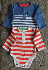 Mothercare Set Of 2 Long Sleeve Vest Tops Bodysuits Size 9-12 Months BNWOT