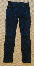 7 For All Mankind womens blue and black velor patterned skinny pants size 25