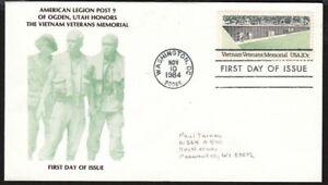 1984 Vietnam Veterans Memorial Sc 2109 1st cachet American Legion Post #9