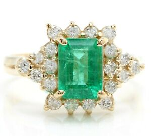 2.65 Carat Natural Emerald and Diamonds in 14K Solid Yellow Gold Women Ring