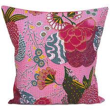 24x24 Pink Pillow Cover Decorative Kantha throw Pillow kantha cushion Cover