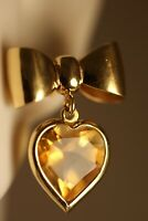 18K YELLOW GOLD CITRINE HEART CHANDELIER RIBBON BOW VICTORIAN ART DECO EARRINGS
