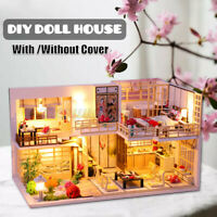 Kids DIY Doll House Handmade Miniature Furniture LED Light Christmas Toys Gift