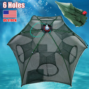 6 Hole Fishing Net Crab Fish Crayfish Lobster Shrimp Eel Live Trap Bait Pot Cage