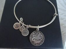Authentic Alex and Ani CAPRICORN  Russian Silver Charm Bangle  W/Tag Card & Box